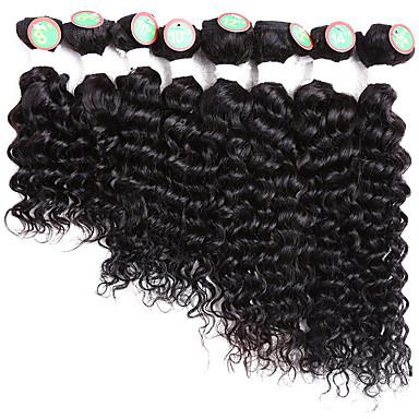 お買い得  ヘアエクステンション-8バンドル ブラジリアンヘア クラシック ウェーブ レミーヘア人毛 オンブル' 8-14 インチ ブラック オンブル' 人間の髪織り ホット販売 人間の髪の拡張機能 / 10A