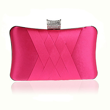 billige Utvalgte tilbud-Dame Krystalldetaljer Silke Aftenveske Rhinestone Crystal Evening Bags Fuksia / Vin / Marineblå