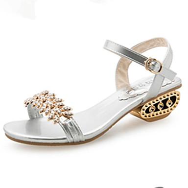 levne Dámské sandály-Dámské Sandály Otevřený palec Štras / Imitace perel / Přezky PU Pohodlné / Gladiátorské Jaro / Léto Zlatá / Černá / Stříbrná / EU39