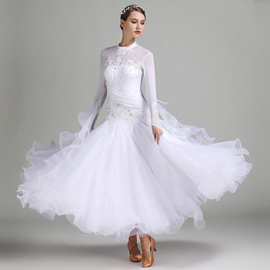 cheap Dancewear & Dance Shoes-Ballroom Dance Dresses Women's Performance Spandex Tulle Milk Fiber Appliques Crystals / Rhinestones Long Sleeves Natural Dress