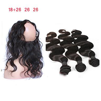 povoljno Ekstenzije od ljudske kose-3 paketi s zatvaranjem Mongolska kosa Tijelo Wave Remy kosa Isprepliće ljudske kose 8a Proširenja ljudske kose