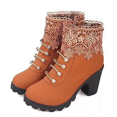 voordelige Dameslaarzen-Dames Laarzen Blokhak Nappaleer Korte laarsjes / Enkellaarsjes Basispump / Modieuze laarzen Winter Zwart / Bruin / EU39