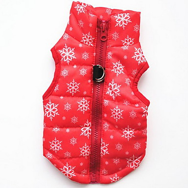 cheap Dog Clothes-Dog Vest Coat Harness Snowflake Casual / Daily Outdoor Winter Dog Clothes Leopard Black Red Costume Baby Small Dog Cotton XS S M L