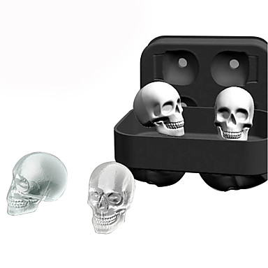 cheap Spooky Kitchen-Halloween Party Halloween Skeleton 3D Silicone Skull Ice Cube Molds Whiskey Cocktail Ice Ball Maker Tray Halloween Bar DIY Tool
