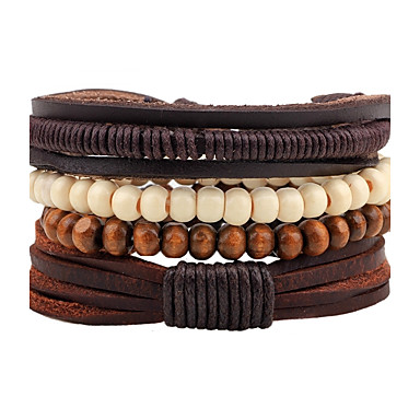 cheap Bracelets-Men's Women's Bead Bracelet Leather Bracelet Rope woven Bohemian Wooden Bracelet Jewelry Coffee For Casual Going out