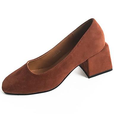 Mujer Zapatos Ante Otoño invierno Confort Tacones Talón de bloque Negro / Marrón 1T0sSpCJE
