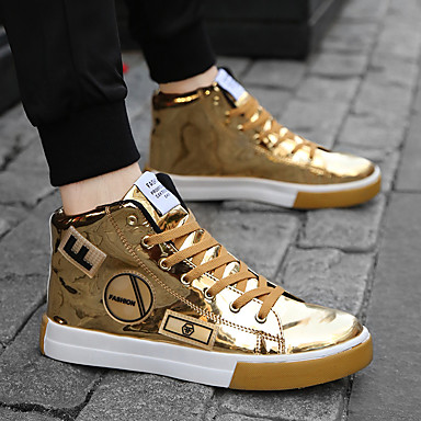 cheap Men's Sneakers-Men's Sneakers Comfort Shoes Casual Party & Evening Patent Leather Mid-Calf Boots Black / Gold / Silver Spring / Fall / EU40