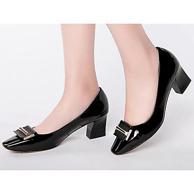 Mujer Zapatos Cuero de Napa Primavera Confort Tacones Tacón Cuadrado Puntera abierta Blanco / Negro Ligne D'arrivée NpBnDgLG