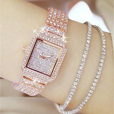 levne Dámské-Dámské Luxusní hodinky Diamond Watch zlaté hodinky japonština Křemenný Nerez Stříbro / Zlatá / Růžové zlato 30 m Hodinky na běžné nošení Analogové dámy Přívěšky Módní Bling bling - Růžové zlato Zlat