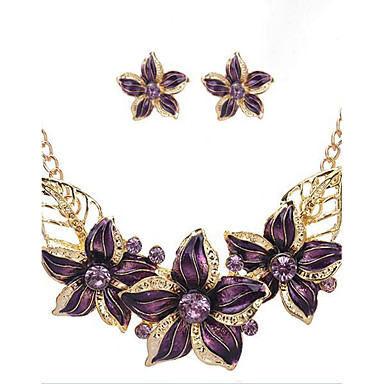 cheap Floral Jewelry-Women's Jewelry Set Stud Earrings Vintage Necklace Flower Flower Statement Ladies Vintage Party Fashion Colorful Rhinestone Gold Plated Earrings Jewelry Beige / Purple / Blue For Party Special