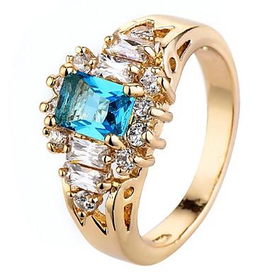 levne Pánské šperky-Dámské Boxer Zásnubní prsten Kubický zirkon drobný diamant Zlatá Zirkon Měď Obdélníkový Luxus Klasické Módní Svatební Párty Šperky simulované