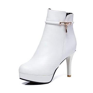 Mujer Zapatos Semicuero Invierno Botas de Equitación / Botas de Moda Botas Tacón Cono Dedo redondo Botines / Hasta el Tobillo Negro / t74jnyAMf