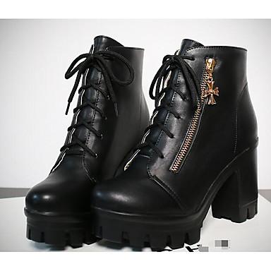 Mujer Zapatos PU Otoño Botas de Combate Botas Tacón Cuadrado Botines / Hasta el Tobillo Negro / Gris / Marrón zkddAsg4