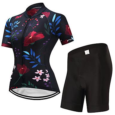 FUALRNY® Γυναικεία Κοντομάνικο Φανέλα και σορτς ποδηλασίας Μαύρο Άνθινο / Βοτανικό Ποδήλατο Ρούχα σύνολα Γρήγορο Στέγνωμα Αθλητισμός Λίκρα Άνθινο / Βοτανικό Ποδηλασία Βουνού Ποδηλασία Δρόμου Ρούχα