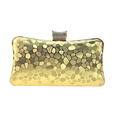 Γυναικεία Κουμπί / Κρυστάλλινη λεπτομέρεια Δερματίνη Βραδινή τσάντα Μαύρο / Χρυσό / Ασημί