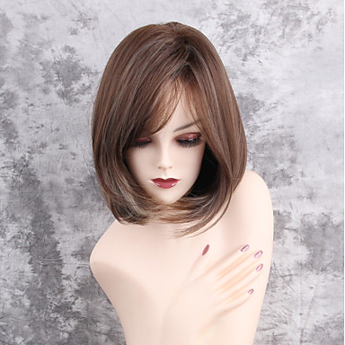 Women synthetic wig capless medium length straight brownwhite women synthetic wig capless medium length straight brownwhite side part highlightedbalayage hair bob haircut natural wigs costume wig 6289799 2017 pmusecretfo Images
