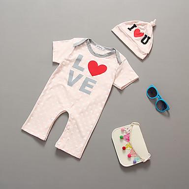 povoljno Odjeća za bebe-Dijete Djevojčice Na prugice Dungi Kratkih rukava Pamuk Kombinezon Blushing Pink