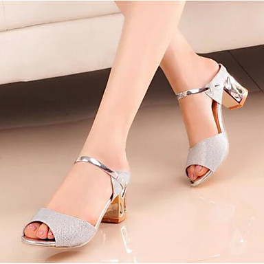Womens Shoes Nubuck Leather Spring Fall Basic Pump Sandals Block Heel for Casual Gold Silver