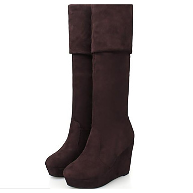 3deaa58e691 Women s Shoes Nubuck leather PU Winter Fashion Boots Slouch Boots Boots Flat  Heel Knee High Boots For Casual Brown Black 6266968 2019 –  26.99