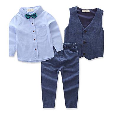 povoljno Odjeća za dječake-Dijete koje je tek prohodalo Dječaci Aktivan Party Dnevno Jednobojni Dugih rukava Regularna Normalne dužine Pamuk Komplet odjeće Plava