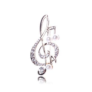 Γυναικεία Καρφίτσες Μουσική Μουσική νότα κυρίες Απομίμηση Μαργαριταριού Καρφίτσα Κοσμήματα Χρυσό Για Καθημερινά Εξόδου