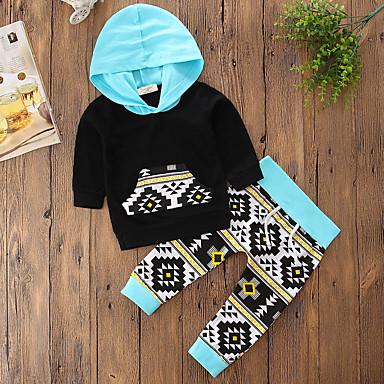 Νήπιο Κοριτσίστικα Λουλουδάτο Επίσημο ρούχο Μονόχρωμο Φλοράλ Γεωμτερικό Μακρυμάνικο Κανονικό Κανονικό Βαμβάκι Σετ Ρούχων Μαύρο