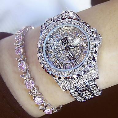 povoljno ženski luksuzni satovi-Žene dame Luxury Watches Diamond Watch Japanski Kvarc Nehrđajući čelik Srebro / Zlatna 30 m Casual sat Analog Šarm Moda Bling Bling - Zlato Pink