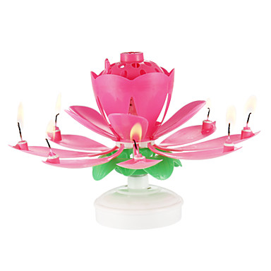 cheap Candles & Candleholders-1PC Plastic Spinning Musical Birthday Flower Candle