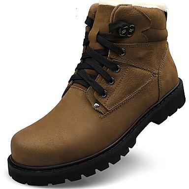 Ανδρικά Μπότες Χιονιού Δέρμα Φθινόπωρο / Χειμώνας Βίντατζ Μπότες Μποτίνια Μαύρο / Χακί / ΕΞΩΤΕΡΙΚΟΥ ΧΩΡΟΥ / Μπότες Μάχης