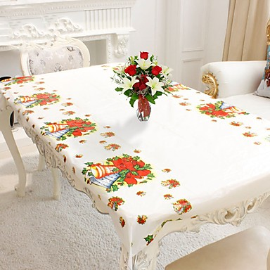 cheap Holiday & Party Decorations-1pc Rectangular Disposable Table Cloth Christmas Tablecloth Printed Table Cover Premium Year Party Home Decoration