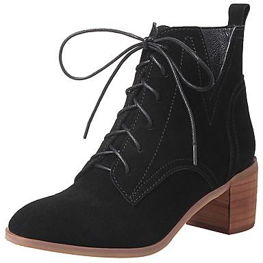 Mujer Zapatos Cuero Otoño / Invierno Botas de Moda / Botas hasta el Tobillo / Botas de Combate Botas Botines / Hasta el Tobillo Con Cordón WFAh2rj