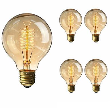 5pcs 40 W E26 / E27 G80 Θερμό Λευκό 2200-2700 k Ρετρό / Με ροοστάτη / Διακοσμητικό Λαμπτήρας πυρακτώσεως Vintage Edison 220-240 V