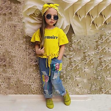 preiswerte Sommerkleidersets für Mädchen-Baby Mädchen Solide Kurzarm Standard Standard Baumwolle Kleidungs Set Gelb
