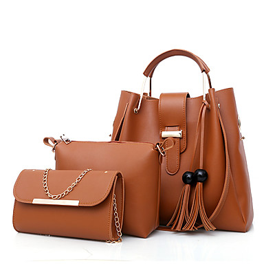 cheap Bag Sets-Women's Bags PU Leather Bag Set 3 Pcs Purse Set Zipper Tassel for Shopping White / Black / Red / Blushing Pink / Bag Sets