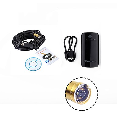 wifi ενδοσκόπιο 14,5 χιλιοστά φακός 15 μέτρα αδιάβροχο καλώδιο ip67 ανιχνευτής κάμερας usb βελόνα επιθεώρηση οπών για ios pc ασύρματο