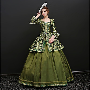 Rococo Lace Up Victorian 18th Century Costume Women s Dress Party Costume  Masquerade Ball Gown Green   Blue Vintage Cosplay Satin Party Prom 3 4  Length ... 48918d3c0973