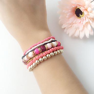 Mulheres Pulseiras em Correntes e Ligações Liga Pulseira de jóias Azul / Rosa claro / Azul Claro Para Casamento Festa