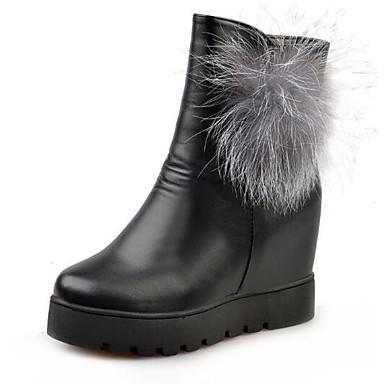 Mujer Zapatos Cuero Primavera / Otoño Botas de nieve / Forro de pelusa Botas Botines / Hasta el Tobillo / Mitad de Gemelo Negro / Rojo ryQ1a3TIu