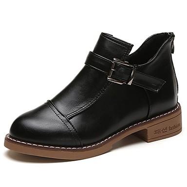 Mujer Zapatos Semicuero Invierno Botas de Combate Botas Dedo redondo Botines / Hasta el Tobillo Negro / Marrón / Verde FubDe4T0x