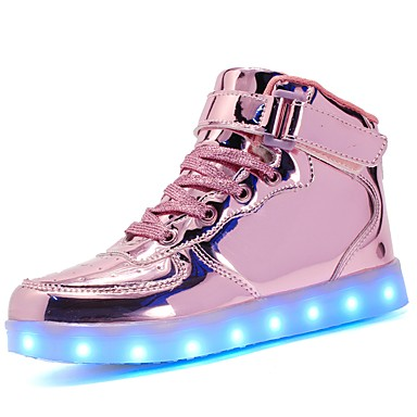 cheap Kids' LED Shoes-Girls' Sneakers LED / Comfort / LED Shoes Patent Leather / Customized Materials Little Kids(4-7ys) / Big Kids(7years +) Walking Shoes Lace-up / Hook & Loop / LED Black / Blue / Pink Fall / TR