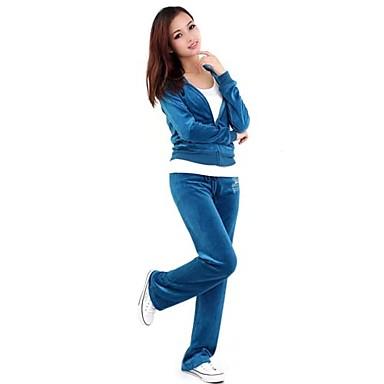 Γυναικεία Streetwear Velour Tricou de Alergat cu Pantaloni Χειμώνας Γιόγκα Τρέξιμο Πιλάτες ΑΘΛΗΤΙΚΑ ΡΟΥΧΑ Ζεστό Moale Φόρμα Ρούχα σύνολα Μακρυμάνικο Ρούχα Γυμναστικής Ελαστικό / Βαμβάκι / Προβιά