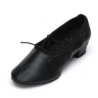 Γυναικεία Παπούτσια τζαζ Φο Δέρμα Ελαστικό λουράκι Κοντόχοντρο Τακούνι Εξατομικευμένο Παπούτσια Χορού Μαύρο / Εξάσκηση