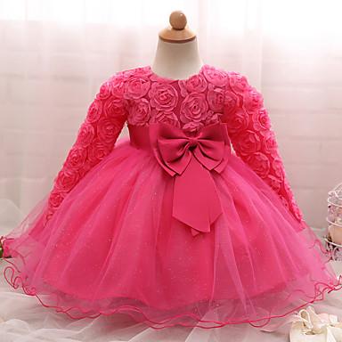 povoljno Odjeća za bebe-Dijete Djevojčice Party / Rođendan Jedna barva Dugih rukava Normalne dužine Pamuk Haljina Blushing Pink