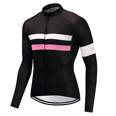 FUALRNY® Ανδρικά Μακρυμάνικο Φανέλα ποδηλασίας Χειμώνας Προβιά Ροζ Ποδήλατο Αθλητική μπλούζα Ποδηλασία Βουνού Ποδηλασία Δρόμου Αθλητισμός Ρούχα / Υψηλή Ελαστικότητα