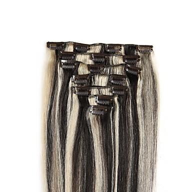 voordelige Extensions van echt haar-Febay Clip-in Extensions van echt haar Recht Echt haar Extentions van mensenhaar 14-24 inch(es) Blond Bruin 7 stks / pak Veelkleurig Vrijuit vergieten Wirwarvrij Dames Medium Brown / Bleached Blonde
