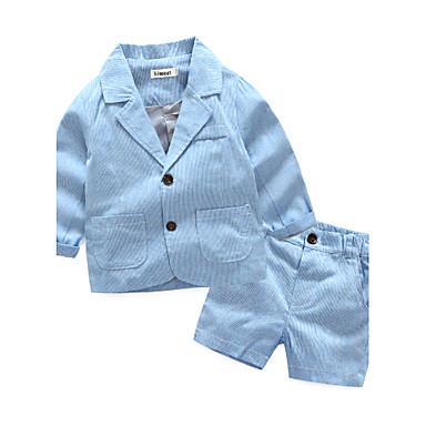 povoljno Odjeća za dječake-Dijete koje je tek prohodalo Dječaci Na prugice Dungi Dugih rukava Komplet odjeće Plava