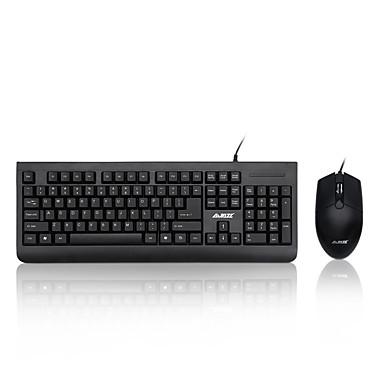preiswerte AJAZZ®-AJAZZ X1180 USB verkabelt Maus-Tastatur-Kombination Membrantastatur Geräuschlos Büro-Maus 1000 dpi