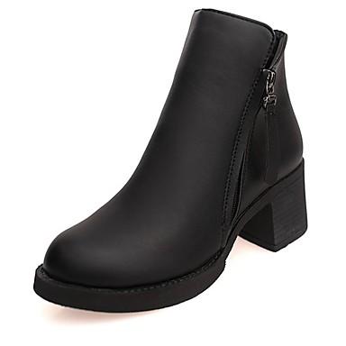 Mujer Zapatos PU Otoño / Invierno Botas de Combate Botas Tacón Cuadrado Dedo redondo Botines / Hasta el Tobillo Negro EOY0LeYt2