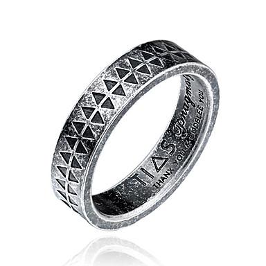 voordelige Herensieraden-Heren Bandring Zilver Titanium Staal Cirkelvorm Gepersonaliseerde Modieus Dagelijks Causaal Sieraden