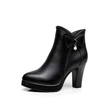Tacón Piel Mujer Zapatos De Cuadrado Invierno Microfibra Forro Botas nngF0aXq